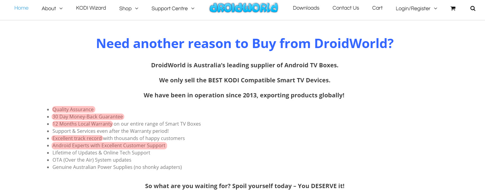 Support Centre – DROIDWORLD – Android Smart TV Box Retailer – Best